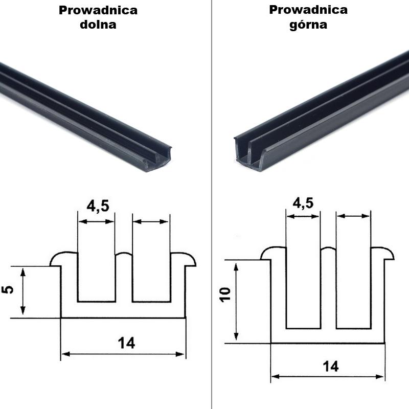 Komplet prowadnic dwutorowych PCV do szyb przesuwnych terrarium