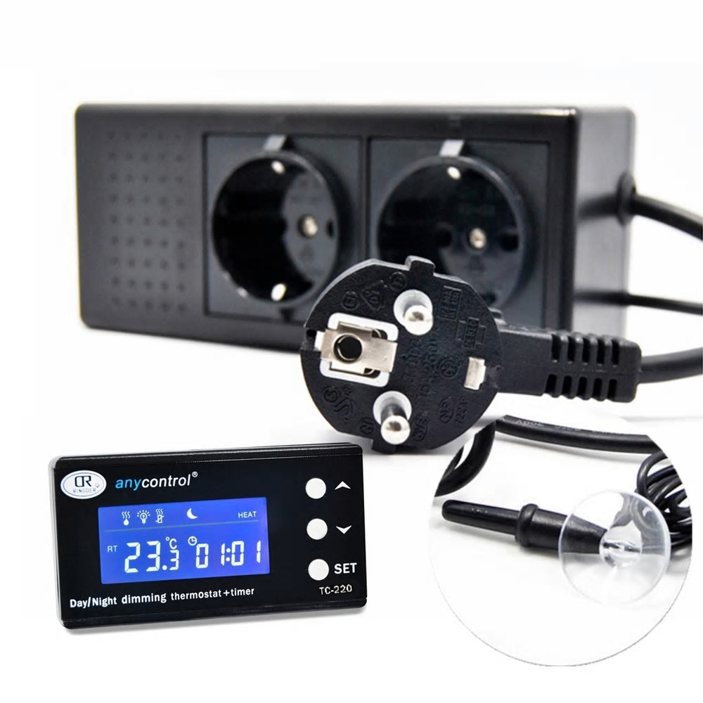 tropical terra sterownik temperatury oswietlenia do terrarium wiwarium inkubatora Ringder TC-220 termostat z programatorem (timer)